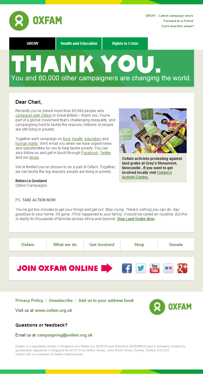 Oxfam - Thank you for campaigning with Oxfam