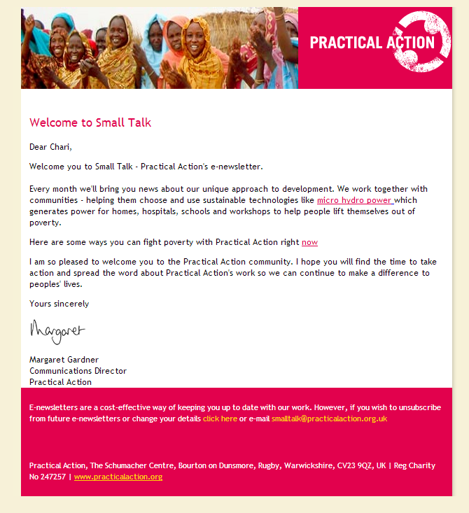Practical Action - Welcome to Small Tal k - Charity Email
