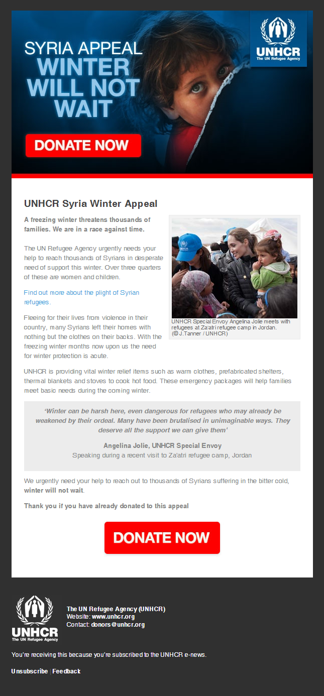 UNHCR - Syria Winter Appeal: Angelina Jolie visits Jordan as a freezing winter threatens thousands of families