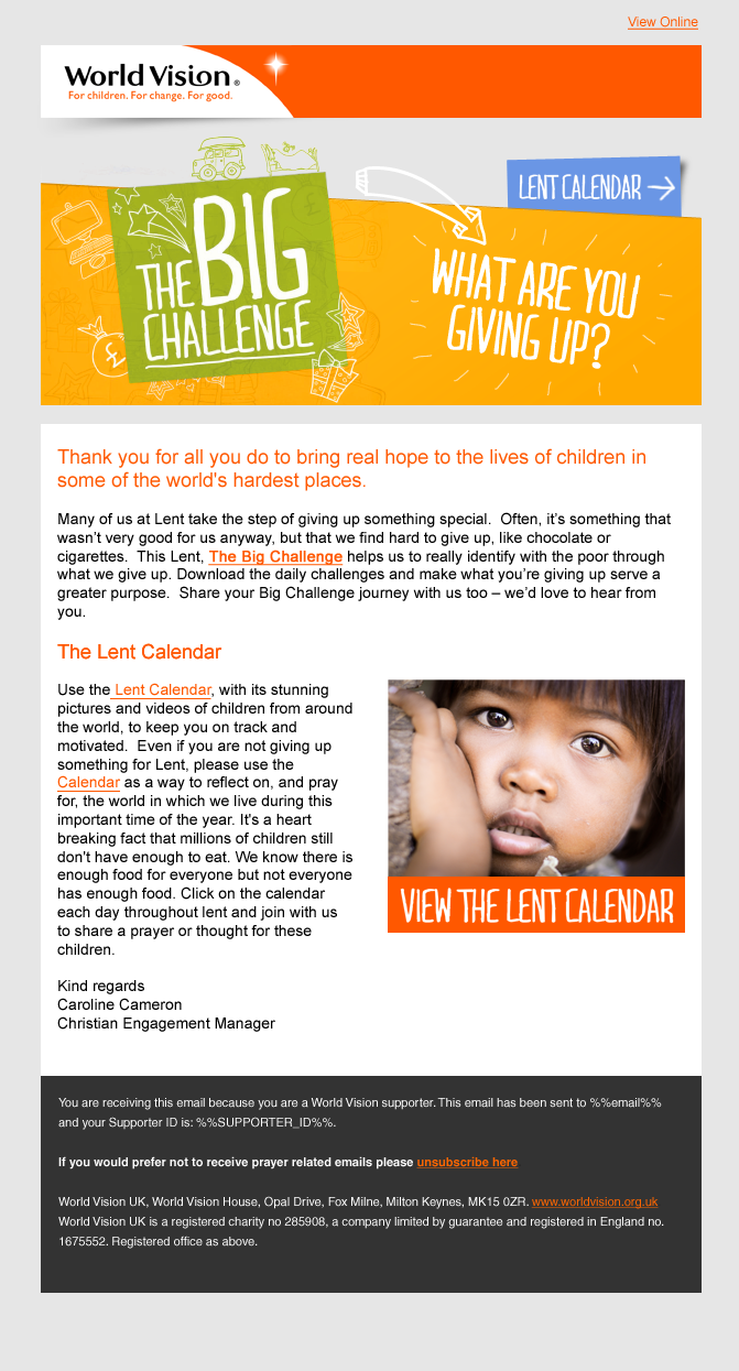 World Vision – What are you giving up? Take on The Big Challenge this Lent?