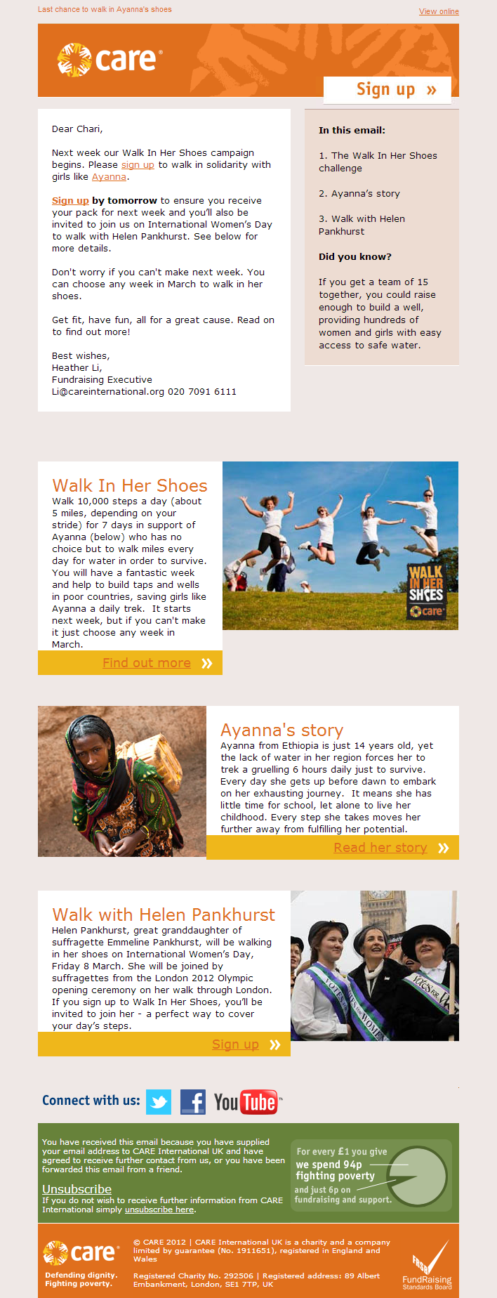 Care International – Next week join a suf​fragette to walk in ​her shoes​