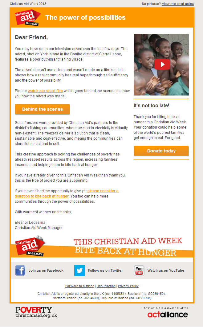 Christian Aid - The power of possibilities