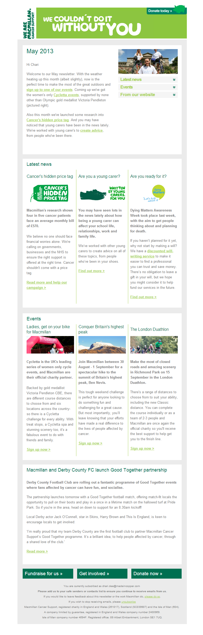 Macmillan Cancer Support - May Supporters Newsletter