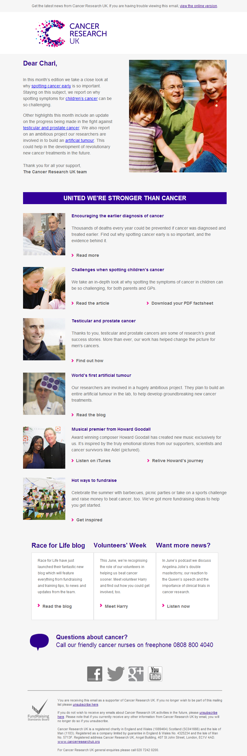 Cancer Research UK - Spotting the signs of cancer sooner