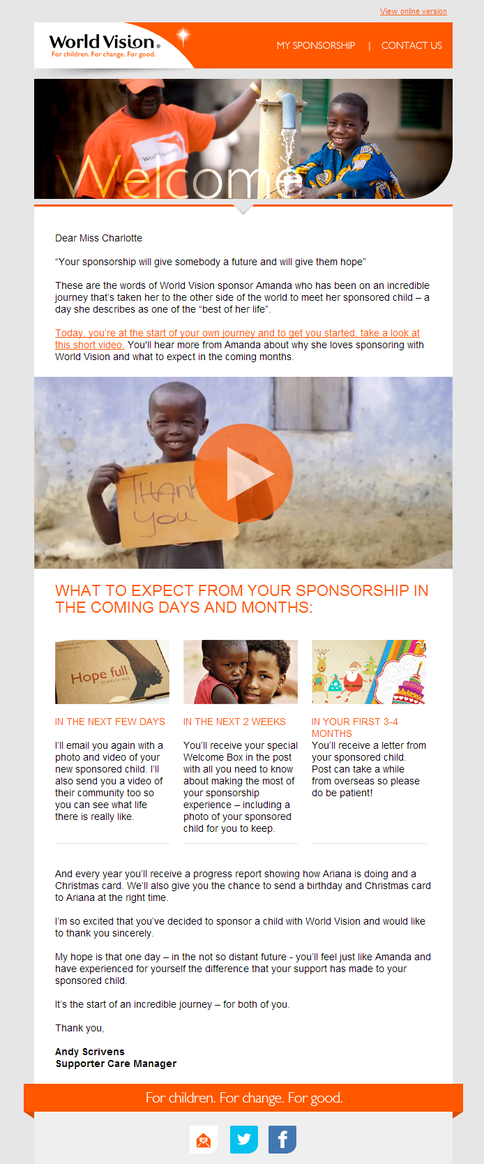 World Vision - Your sponsorship will give somebody a future