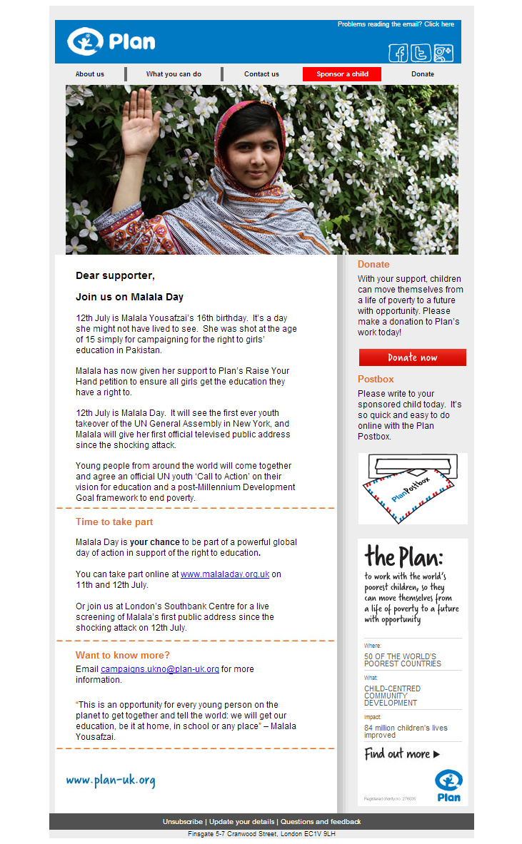Plan UK - Urgent: Please join us on Malala Day
