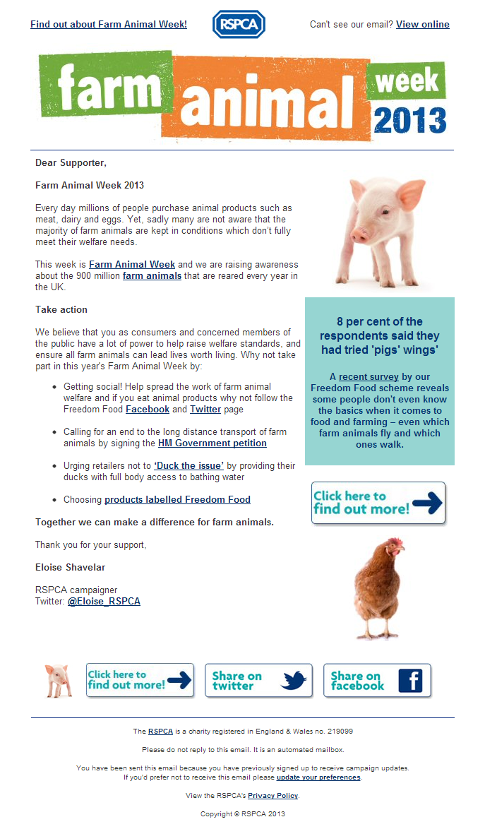 RSPCA - 2013 Farm Animal Week is here - take action today!