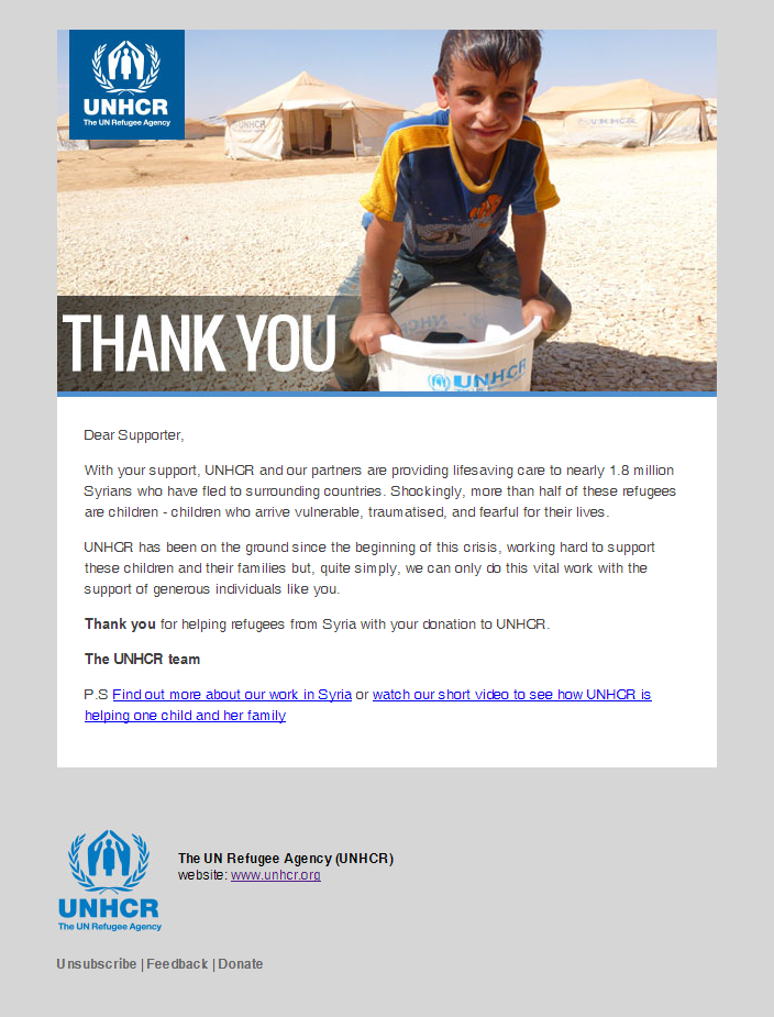 UNHCR - Thank you for making a difference to Syrian refugees