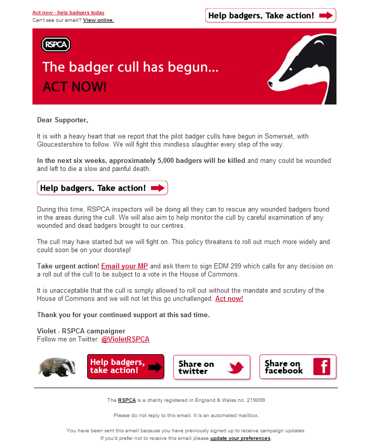 RSPCA - The badger cull has begun