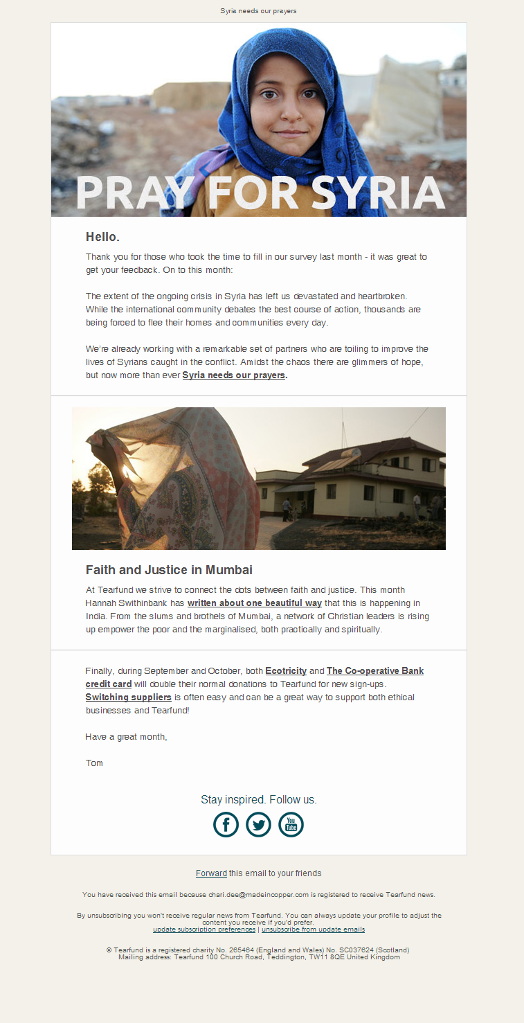 Tearfund - Syria needs our prayers