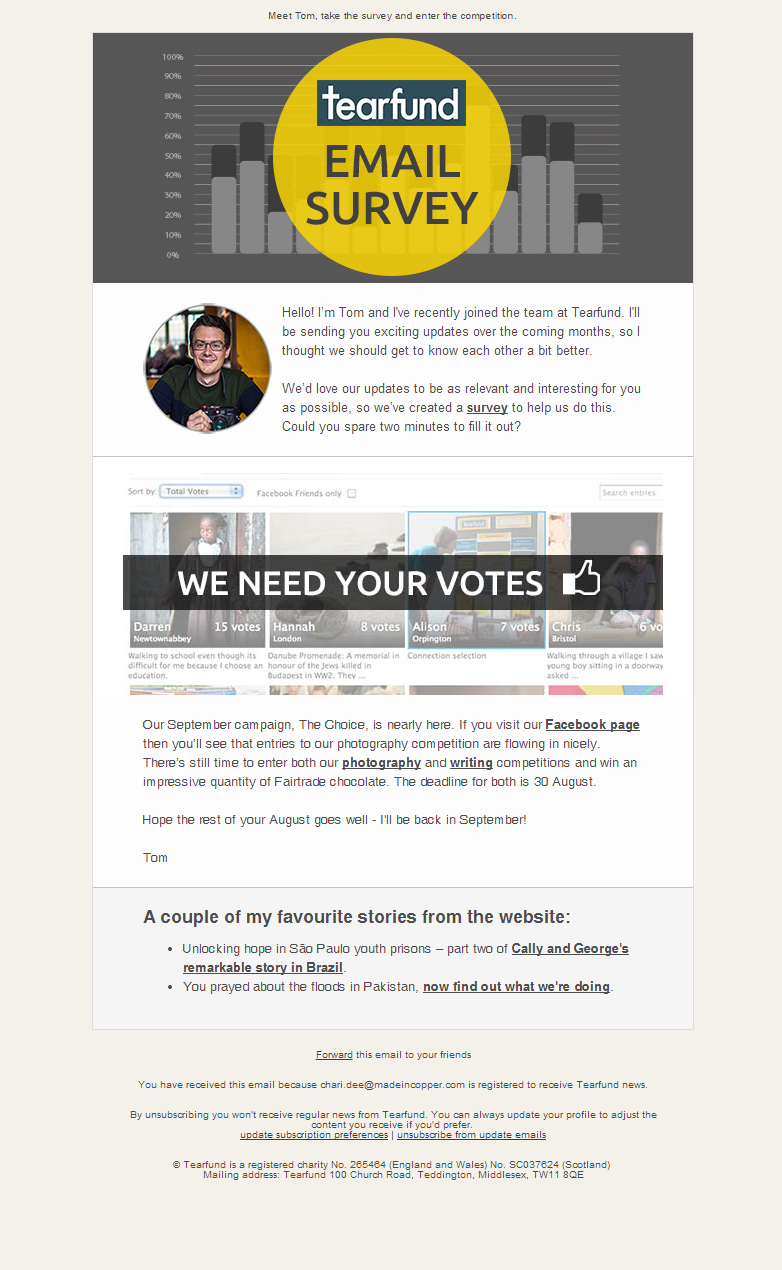 Tearfund - Tom has a few questions for you