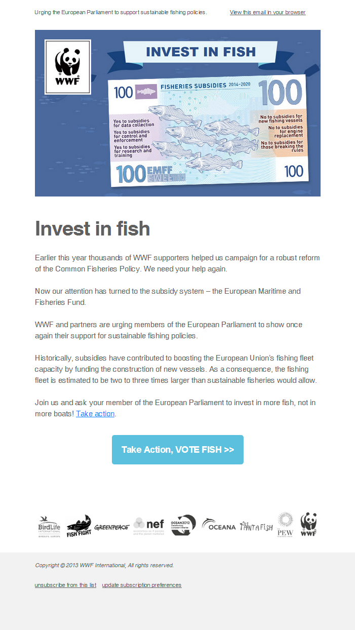 WWF - Ask the European Parliament to invest in more fish, not in more boats!