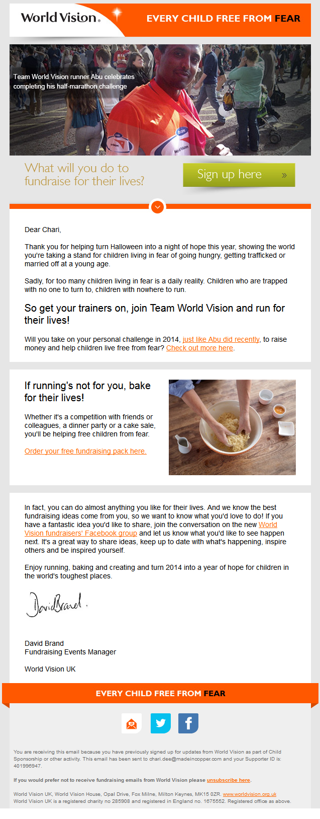 Charity Emails - World Vision - Will you fundraise for their lives?