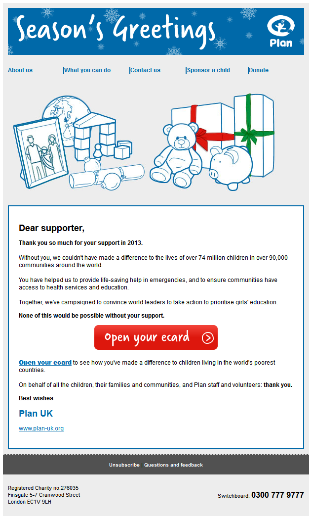 Charity Emails -Plan UK - Season's Greetings from Plan UK
