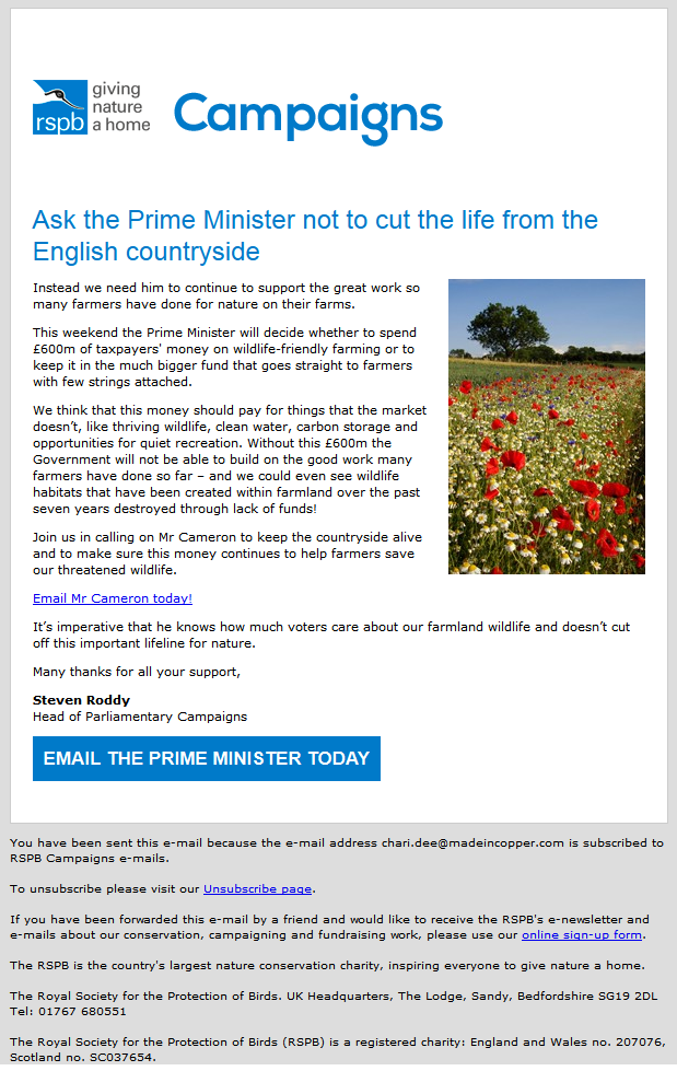Charity Emails -RSPB - Ask the Prime Minister not to cut the life from the English countryside!