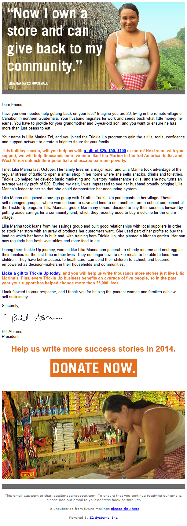 Charity Emails -Trickle Up - Help us write more success stories in 2014