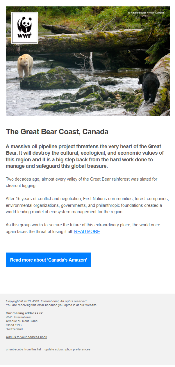 Charity Emails -WWF - Stand up for the Great Bear Coast