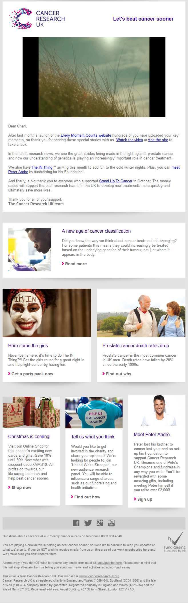 Charity Emails - Cancer Research UK - Every moment counts