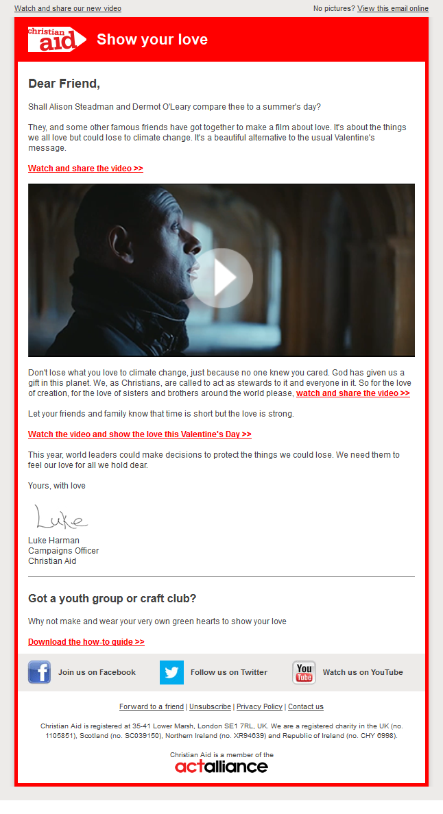 Charity Email Example Design