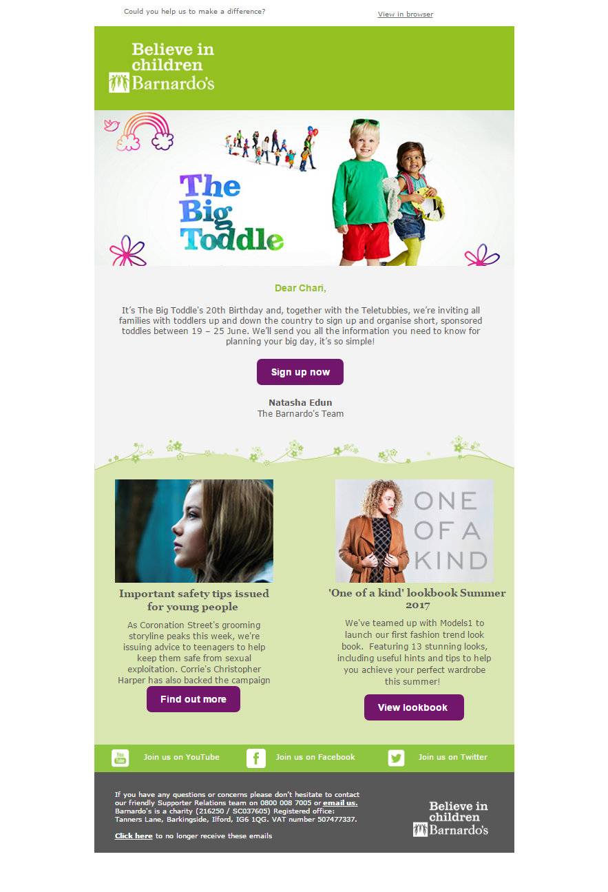 Charity Emails - Barnardo's