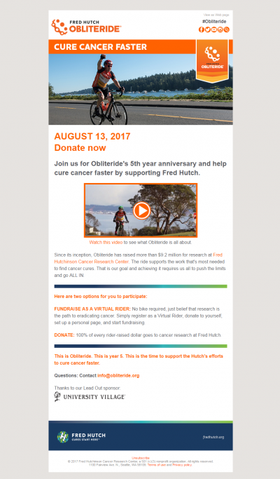 Charity Emails - Fred Hutch