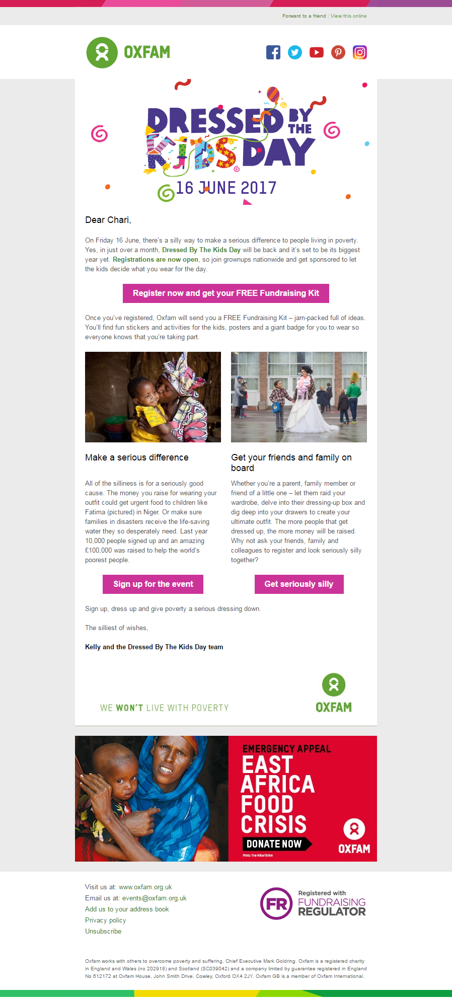 Charity Emails - Oxfam