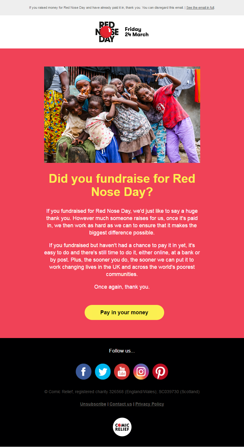 Charity Emails - Red Nose Day