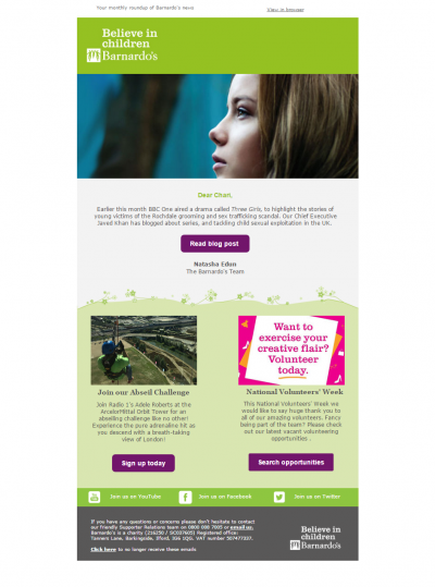 Charity Emails - Barnardos