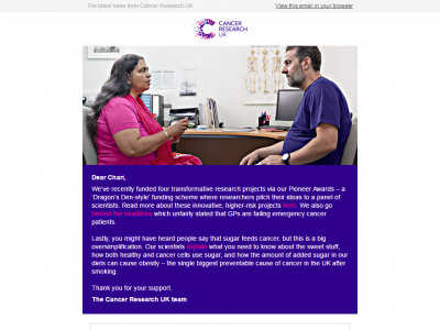 Charity Emails - Cancer Research UK