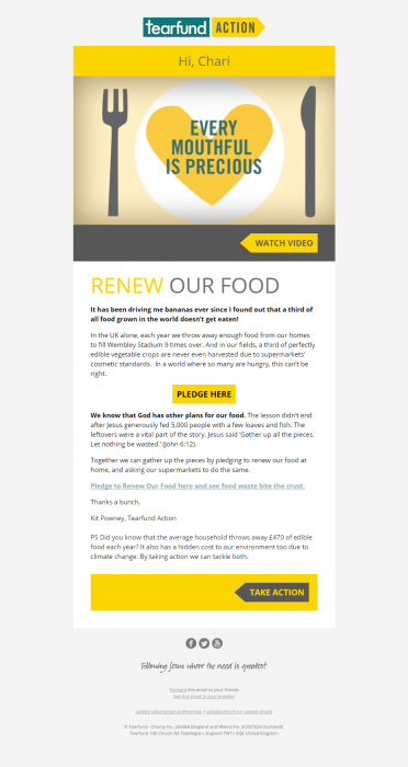 Charity Email - Tearfund