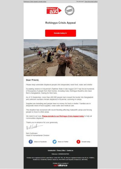 Charity Email - Christian Aid