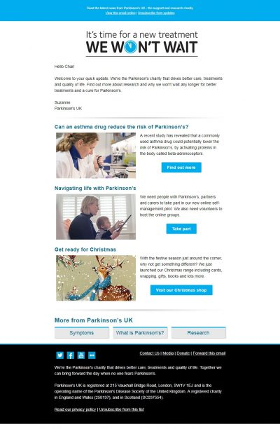 Charity Email - Parkinson's UK