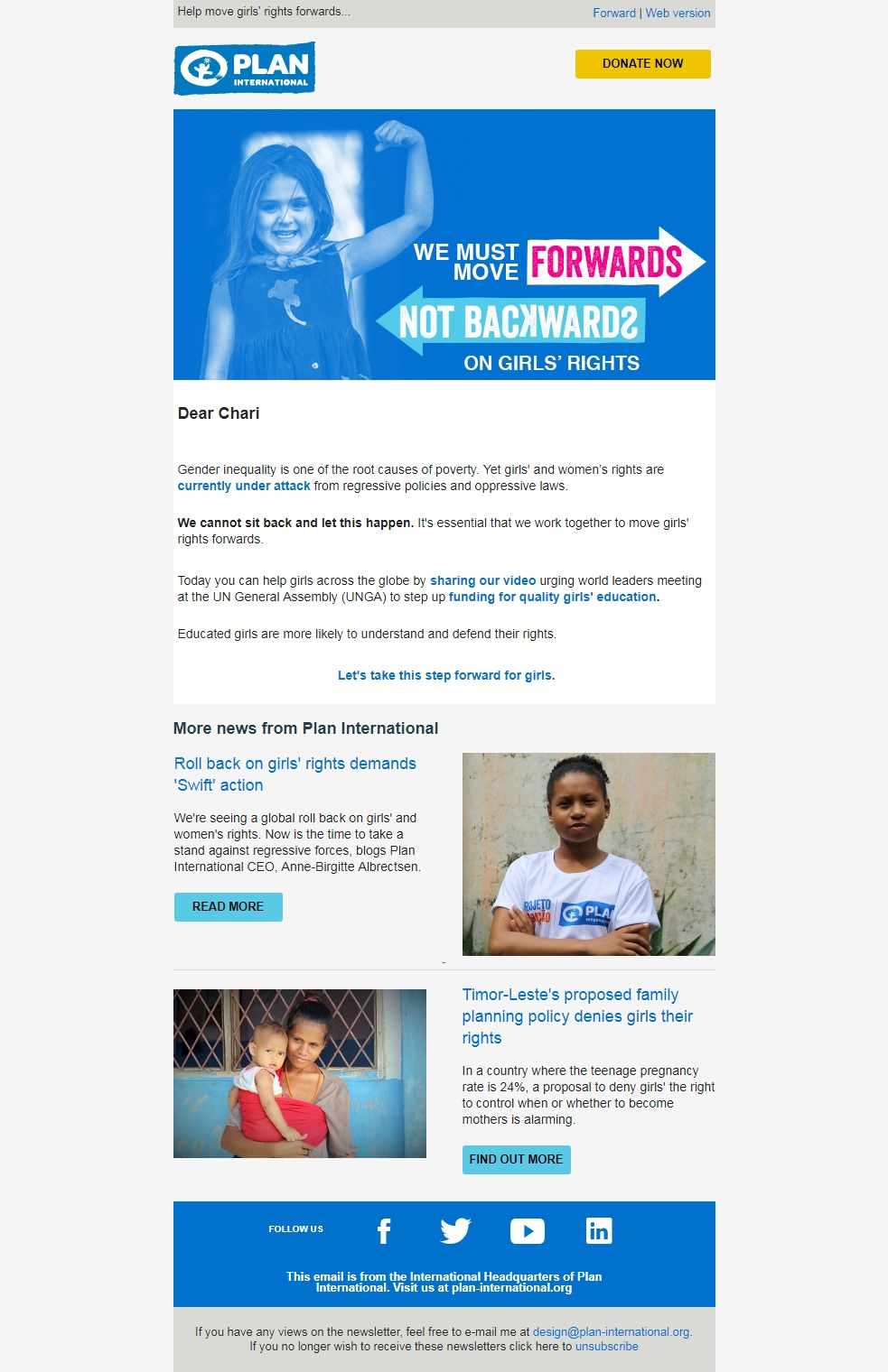 Charity Email - Plan International