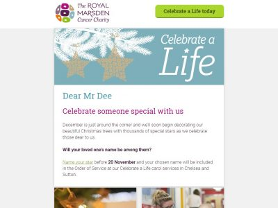 Charity Email - Royal Marsden
