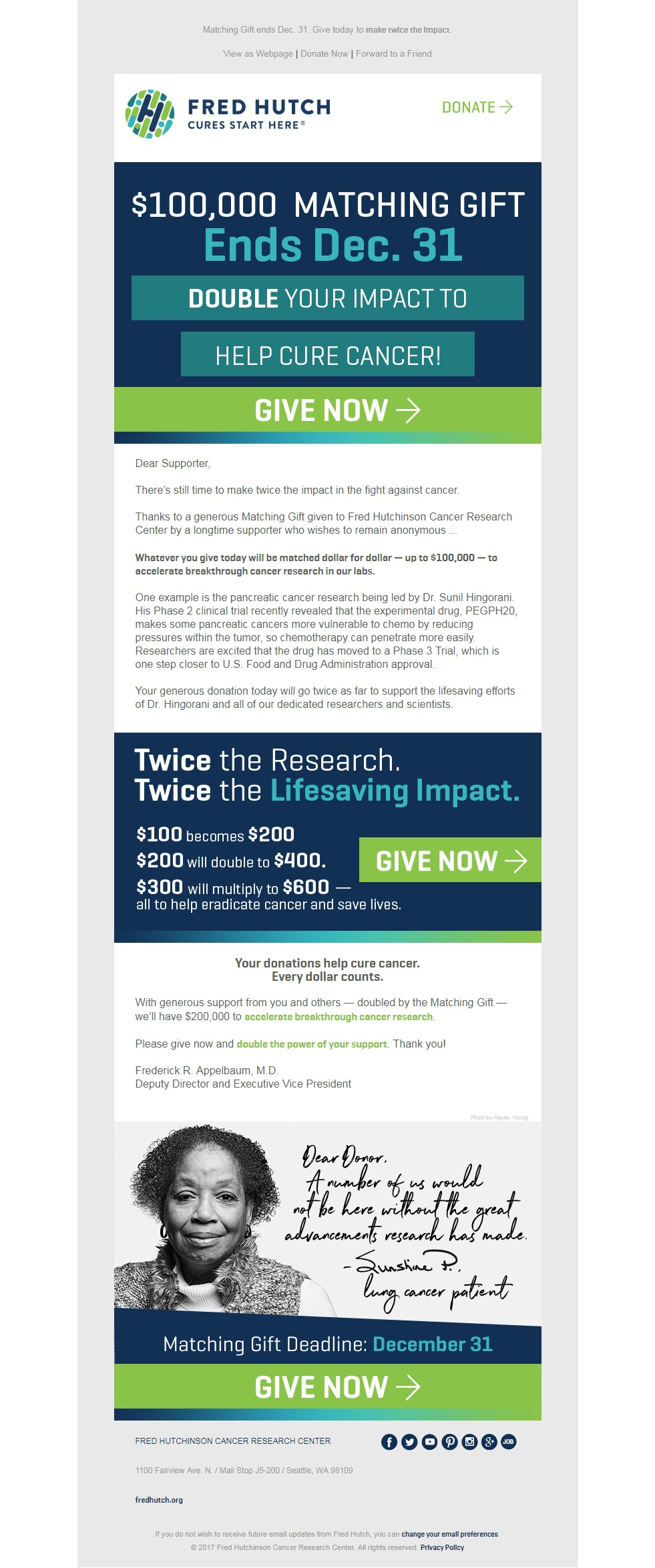 Charity Email - Fred Hutch