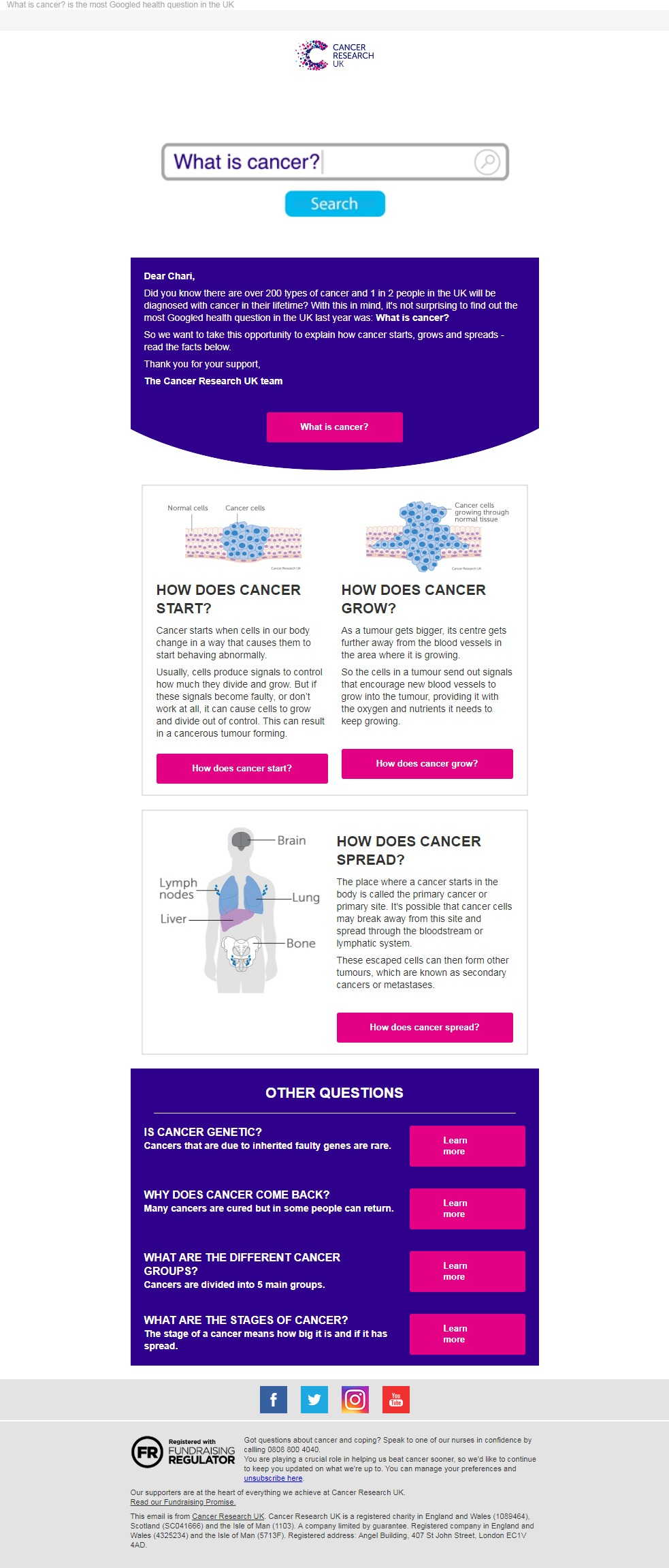 Charity Email - Cancer Research UK