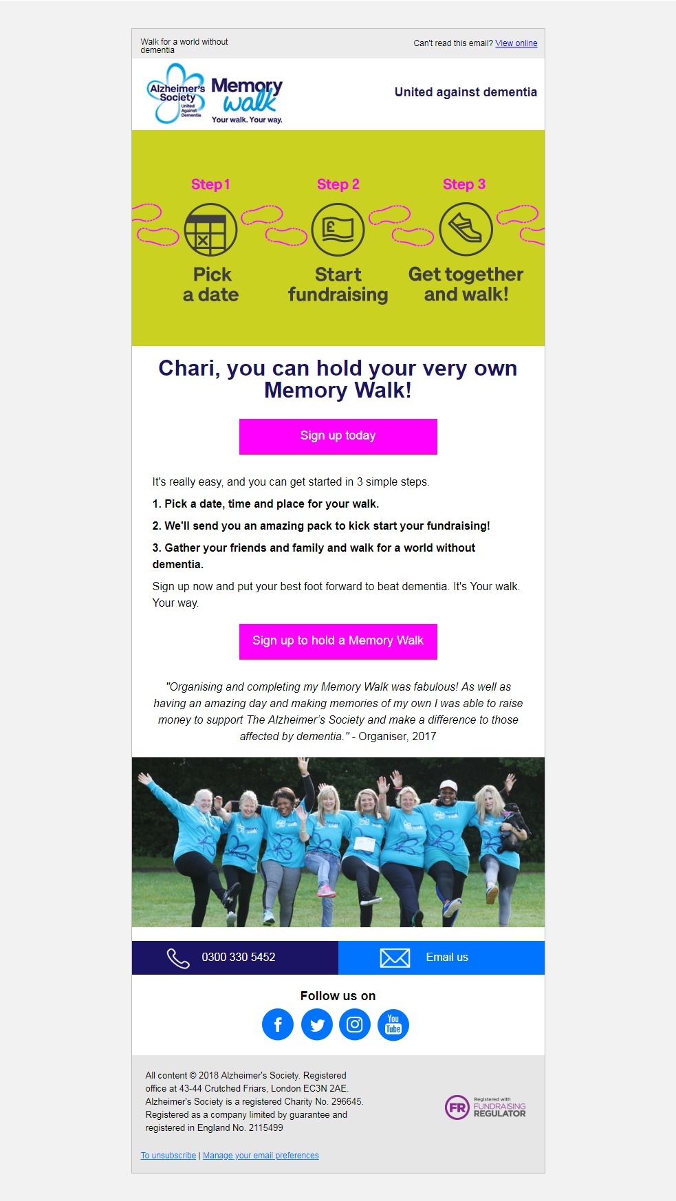 Charity Email - Alzheimer's Society