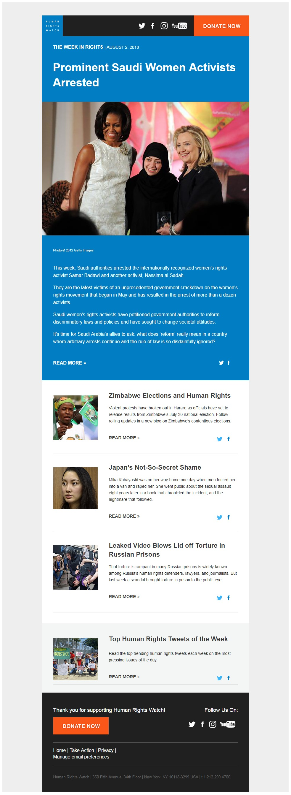 Charity Email - Human Rights Watch