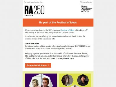 Charity Email - Royal Academy of Arts