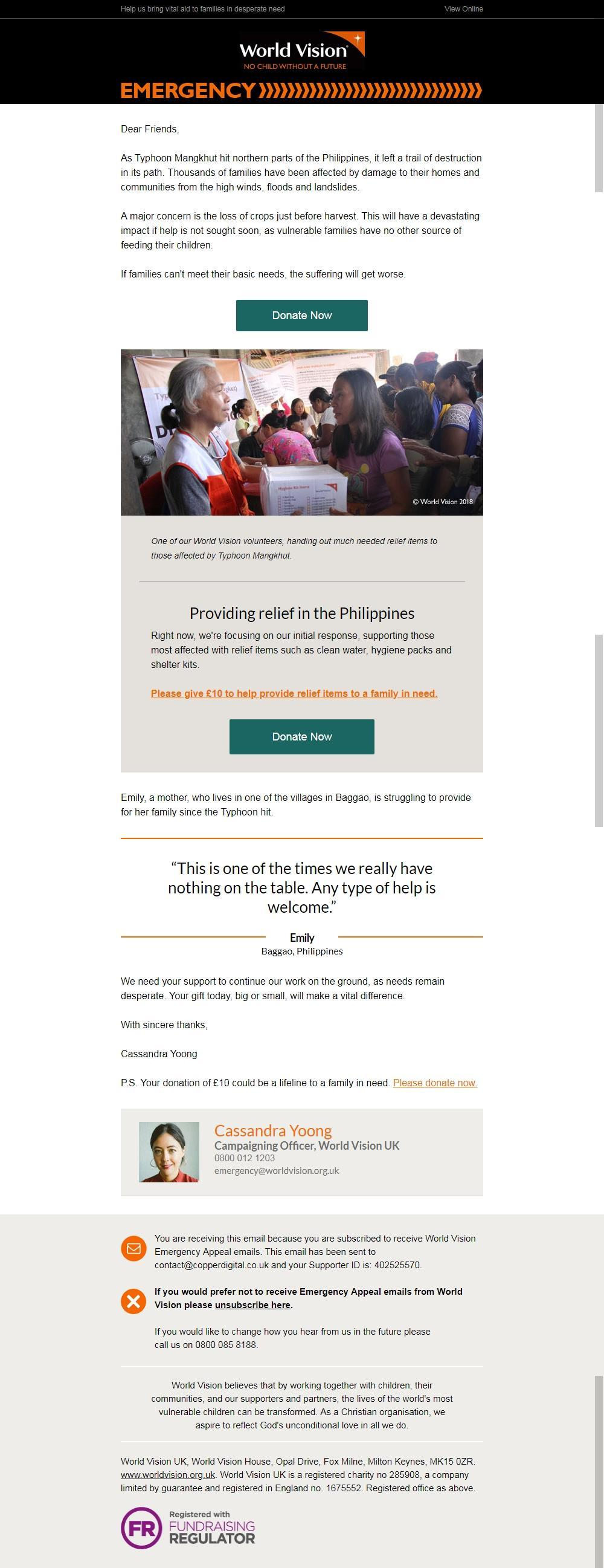 Charity email - World Vision
