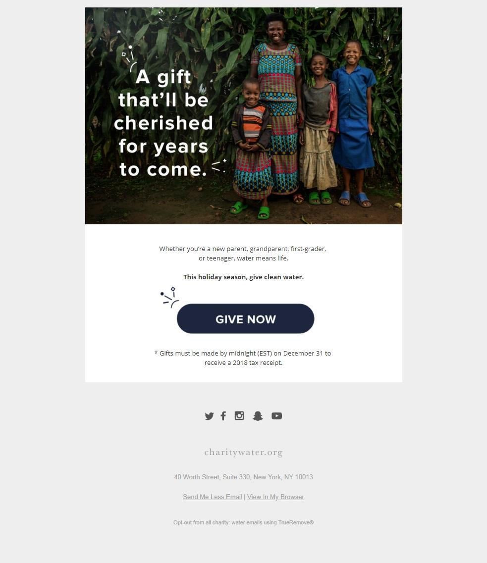 Charity email - Charity Water