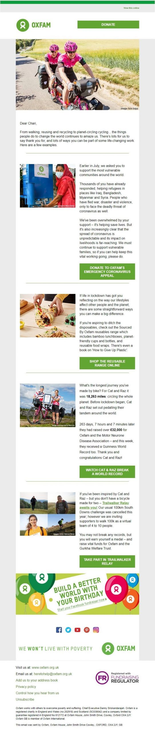 Oxfam charity email