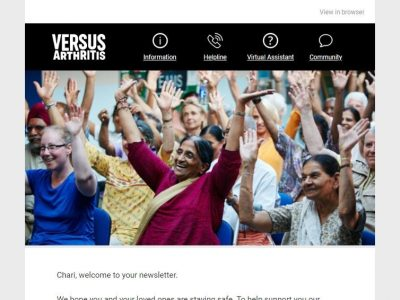 Versus Arthritis charity email marketing